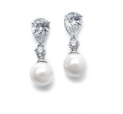 Pearl Wedding Earrings with CZ Pears