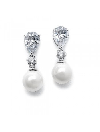 Pearl Wedding Earrings with CZ Pears