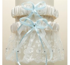 Embroidered Wedding Garter Sets with Scattered Crystals - Ivory with Blue