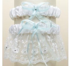 Embroidered Wedding Garter Sets with Scattered Crystals - White with Blue