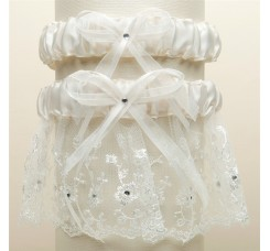 Embroidered Wedding Garter Sets with Scattered Crystals - Ivory
