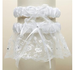 Embroidered Wedding Garter Sets with Scattered Crystals - White