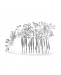 Brushed Silver and White Pearl Wedding Comb