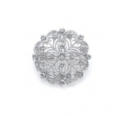 Dainty Round Vintage Bridal Pin in CZ