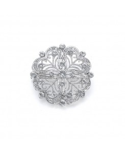 Dainty Round Vintage Bridal Pin in CZ
